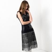 2016新款真皮打底衫女蕾丝拼接 绵羊皮长款无袖打底衫