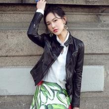 新款真皮皮衣女 机车短款绵羊皮夹克小皮衣立领修身韩版外套