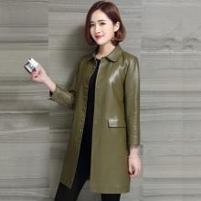 海宁皮衣绵羊皮皮衣外套2017新款韩版真皮风衣女装单排扣修身单皮大衣