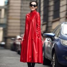 海宁皮衣2017春装新款海宁真皮皮衣女中长款进口绵羊皮风衣夹棉外套