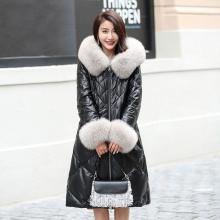 2017冬季新款海宁真皮羽绒服女长款狐狸毛领连帽绵羊皮修身皮外套