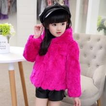 童装冬装女童皮草外套儿童獭兔毛整皮短款连帽大衣冬季加厚帽子