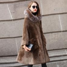 海宁皮草新款欧美时髦两面穿羊皮毛一体大摆外套连帽大衣皮草女装