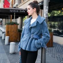 皮毛一体女2017冬季新款海宁皮草短款西装领修身羊剪绒皮草外套女