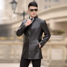 新款真皮风衣男士中长款海宁绵羊皮真皮皮衣男装修身单皮外套