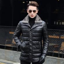 海宁皮衣真皮羽绒服男士皮衣中长款冬季加绒绵羊皮夹克修身韩版潮外套