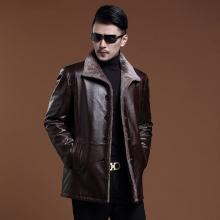 海宁皮衣男士皮衣皮毛一体风衣进口头层牛皮中长款大衣中老年保暖外套